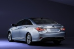 2013 Hyundai Sonata Hybrid in Blue Sky Metallic - Static Rear Left Three-quarter View