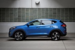 Picture of a 2016 Hyundai Tucson Limited 1.6T AWD in Caribbean Blue from a side perspective