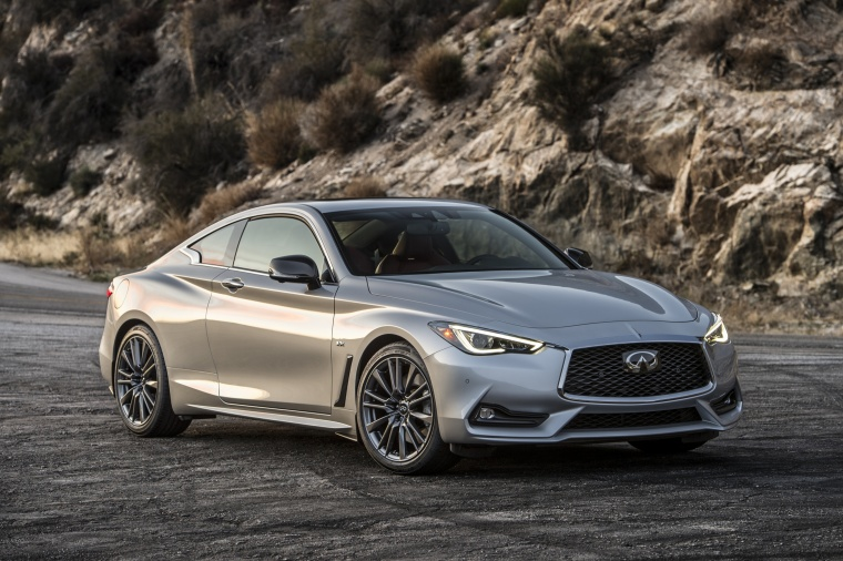 2018 Infiniti Q60 Coupe 3.0T in Liquid Platinum from a front right view