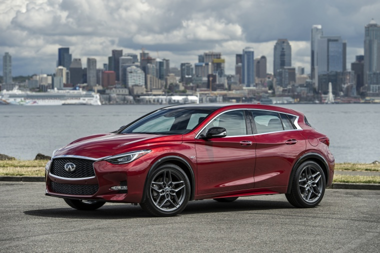 2019 Infiniti QX30S in Magnetic Red from a front left three-quarter view