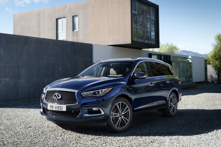 2018 Infiniti QX60 in Hermosa Blue from a front left three-quarter view