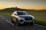 Picture of a driving 2019 Jaguar E-Pace P300 R-Dynamic AWD in Corris Gray from a front right perspective