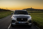 Picture of a driving 2019 Jaguar E-Pace P300 R-Dynamic AWD in Corris Gray from a frontal perspective