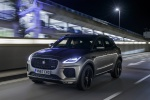 Picture of a driving 2019 Jaguar E-Pace P300 R-Dynamic AWD in Corris Gray from a front left perspective