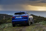 Picture of a 2019 Jaguar E-Pace P300 R-Dynamic AWD in Caesium Blue Metallic from a rear perspective