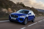 Picture of a driving 2019 Jaguar E-Pace P300 R-Dynamic AWD in Caesium Blue Metallic from a front left three-quarter perspective