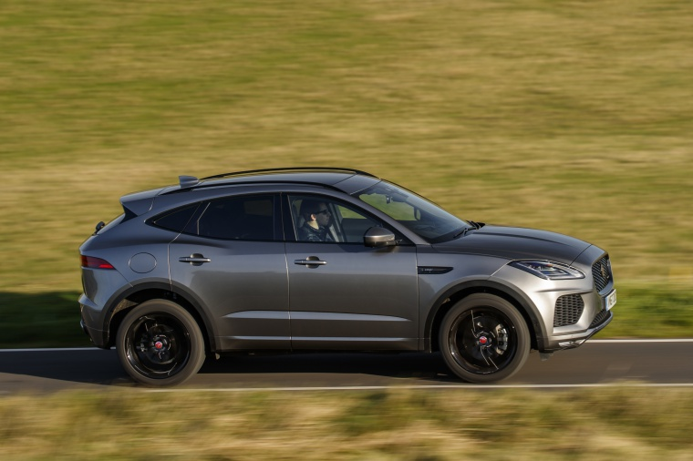 Driving 2020 Jaguar E-Pace P300 R-Dynamic AWD in Corris Gray from a right side view