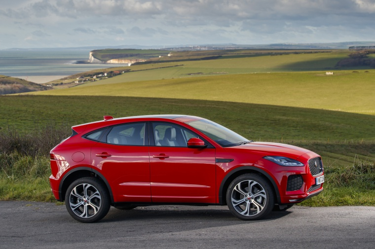 2020 Jaguar E-Pace P300 R-Dynamic AWD in Firenze Red Metallic from a right side view