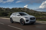 Picture of a driving 2020 Jaguar E-Pace P300 R-Dynamic AWD in Fuji White from a front right three-quarter perspective