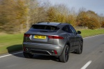 Picture of a driving 2020 Jaguar E-Pace P300 R-Dynamic AWD in Corris Gray from a rear right perspective