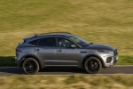 Picture of a driving 2020 Jaguar E-Pace P300 R-Dynamic AWD in Corris Gray from a right side perspective