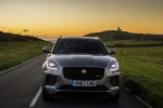Picture of a driving 2020 Jaguar E-Pace P300 R-Dynamic AWD in Corris Gray from a frontal perspective