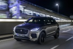 Picture of a driving 2020 Jaguar E-Pace P300 R-Dynamic AWD in Corris Gray from a front left perspective