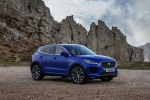Picture of a 2020 Jaguar E-Pace P300 R-Dynamic AWD in Caesium Blue Metallic from a front right three-quarter perspective