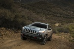Picture of a 2014 Jeep Cherokee Trailhawk 4WD in Billet Silver Metallic Clearcoat from a front left perspective