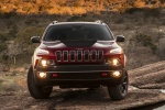Picture of a 2015 Jeep Cherokee Trailhawk 4WD in Deep Cherry Red Crystal Pearlcoat from a frontal perspective