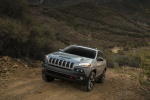 Picture of a 2015 Jeep Cherokee Trailhawk 4WD in Billet Silver Metallic Clearcoat from a front left perspective