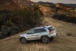 Picture of a 2016 Jeep Cherokee Trailhawk 4WD in Billet Silver Metallic Clearcoat from a rear left three-quarter perspective