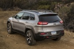 Picture of a 2018 Jeep Cherokee Trailhawk 4WD in Billet Silver Metallic Clearcoat from a rear left perspective