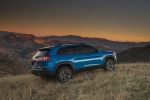 Picture of a 2019 Jeep Cherokee Trailhawk 4WD in Hydro Blue Pearlcoat from a rear right three-quarter perspective