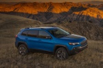 Picture of a 2019 Jeep Cherokee Trailhawk 4WD in Hydro Blue Pearlcoat from a front right three-quarter perspective