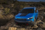 Picture of a 2019 Jeep Cherokee Trailhawk 4WD in Hydro Blue Pearlcoat from a front left perspective