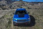 Picture of a driving 2019 Jeep Cherokee Trailhawk 4WD in Hydro Blue Pearlcoat from a frotnal perspective