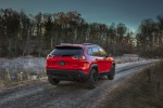 Picture of a 2019 Jeep Cherokee Trailhawk 4WD in Firecracker Red Clearcoat from a rear right perspective