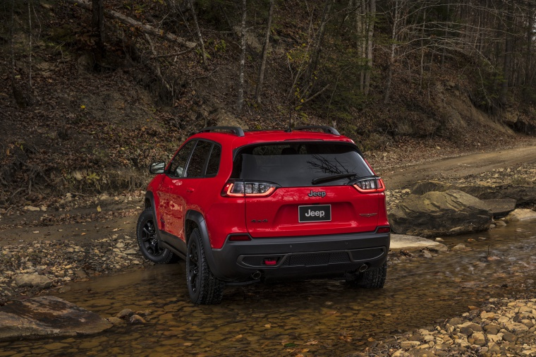 Picture of a 2020 Jeep Cherokee Trailhawk 4WD from a rear left perspective