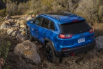 Picture of a 2020 Jeep Cherokee Trailhawk 4WD in Hydro Blue Pearlcoat from a rear left perspective