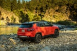Picture of a 2019 Jeep Compass Trailhawk 4WD in Spitfire Orange Clearcoat from a rear right three-quarter perspective