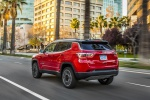 Picture of a 2019 Jeep Compass Limited 4WD in Redline Pearlcoat from a rear left three-quarter perspective