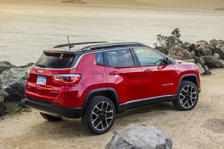 Picture of a 2020 Jeep Compass Limited 4WD in Redline Pearlcoat from a rear right three-quarter perspective