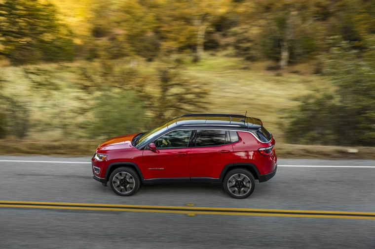 2020 Jeep Compass Limited 4WD in Redline Pearlcoat from a left side view