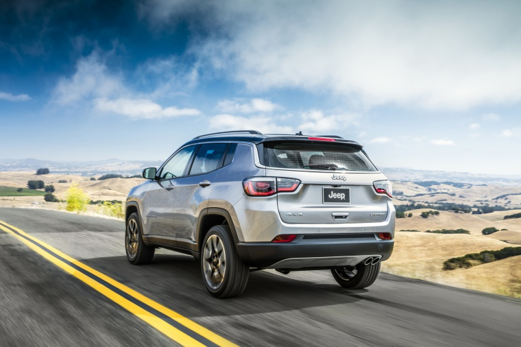 2020 Jeep Compass Limited 4WD in Billet Silver Metallic Clearcoat from a rear left view