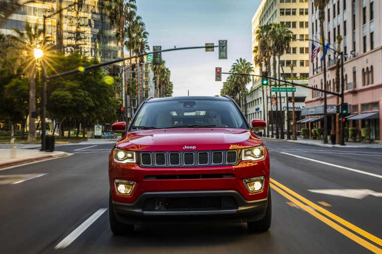 Picture of a 2020 Jeep Compass Limited 4WD in Redline Pearlcoat from a frontal perspective