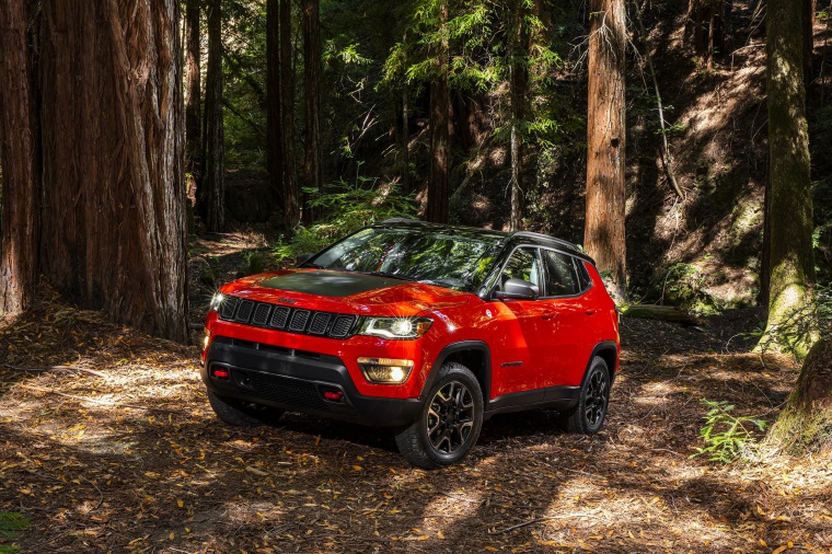 2020 Jeep Compass Trailhawk 4WD in Spitfire Orange Clearcoat from a front left three-quarter view