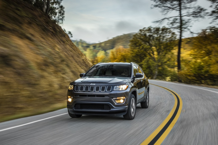 2020 Jeep Compass Latitude 4WD in Granite Crystal Metallic Clearcoat from a front left view