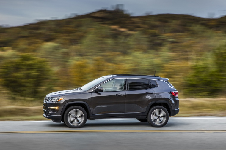 2020 Jeep Compass Latitude 4WD in Granite Crystal Metallic Clearcoat from a side view