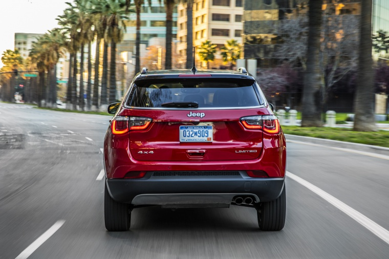 Picture of a 2020 Jeep Compass Limited 4WD in Redline Pearlcoat from a rear perspective