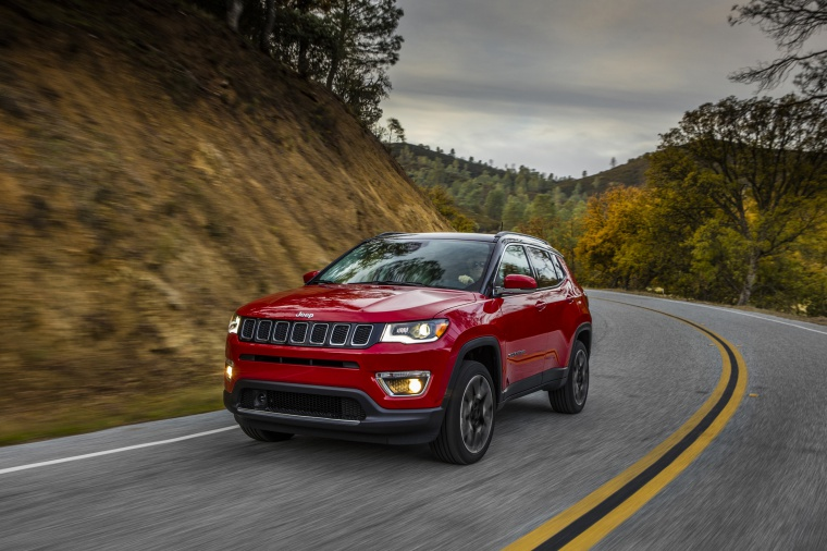 2020 Jeep Compass Limited 4WD in Redline Pearlcoat from a front left view
