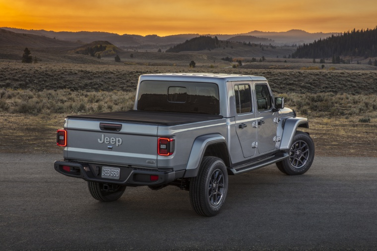 2020 Jeep Gladiator Crew Cab Overland 4WD in Billet Silver Metallic Clearcoat from a rear right view