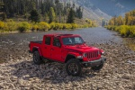 2020 Jeep Gladiator Crew Cab Rubicon 4WD without front roof panel in Firecracker Red Clearcoat - Static Front Right View