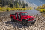 2020 Jeep Gladiator Crew Cab Rubicon 4WD without doors and roof in Firecracker Red Clearcoat - Static Front Right View