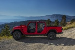 2020 Jeep Gladiator Crew Cab Rubicon 4WD without doors and windshield folded in Firecracker Red Clearcoat - Static Left Side View