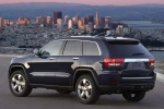 2013 Jeep Grand Cherokee Overland 4WD in Brilliant Black Crystal Pearlcoat - Static Rear Left Three-quarter View