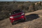 Picture of a 2016 Jeep Grand Cherokee Summit 4WD in Deep Cherry Red Crystal Pearlcoat from a frontal perspective