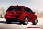 Picture of a 2016 Jeep Grand Cherokee SRT 4WD in Redline 2 Coat Pearl from a rear right three-quarter perspective