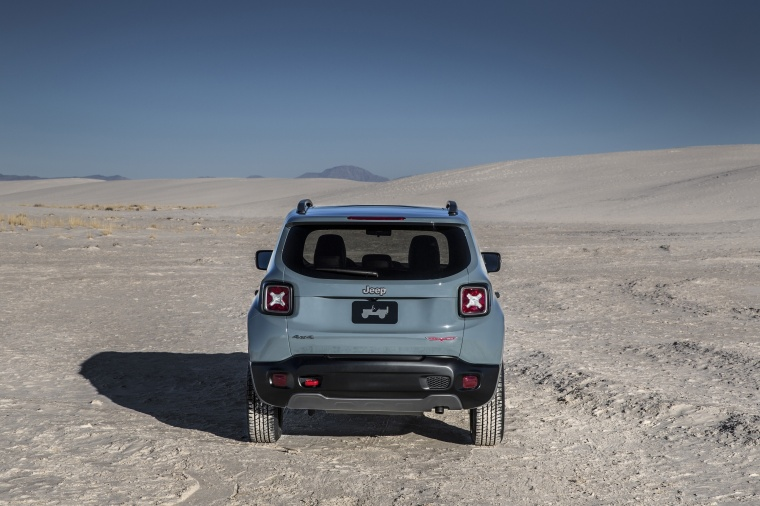 2017 Jeep Renegade Trailhawk 4WD in Glacier Metallic from a rear view