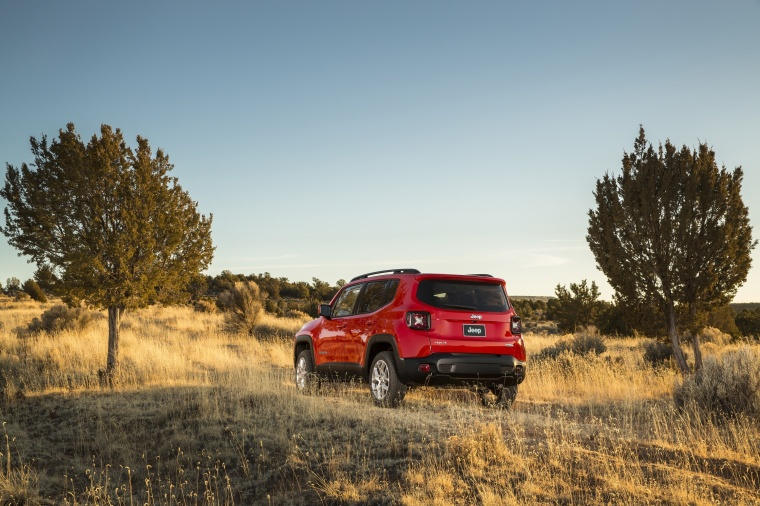 2017 Jeep Renegade Latitude 4WD in Colorado Red from a rear left view